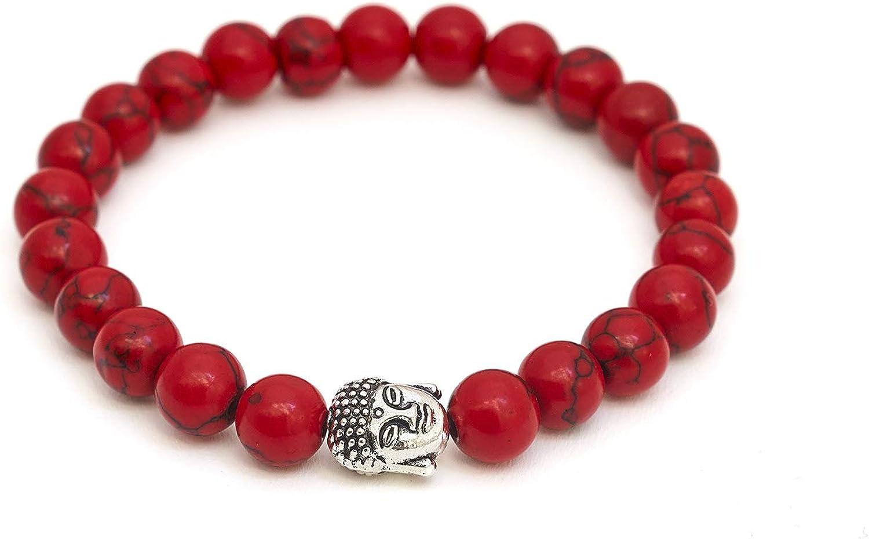 BERGERLIN Pulsera de Buda de Piedra Natural o Perlas de Piedras volcánicas y Perla Fina Budista