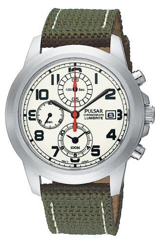 - Pulsar Men's PF8193 Chronograph Camo Green Strap Watch