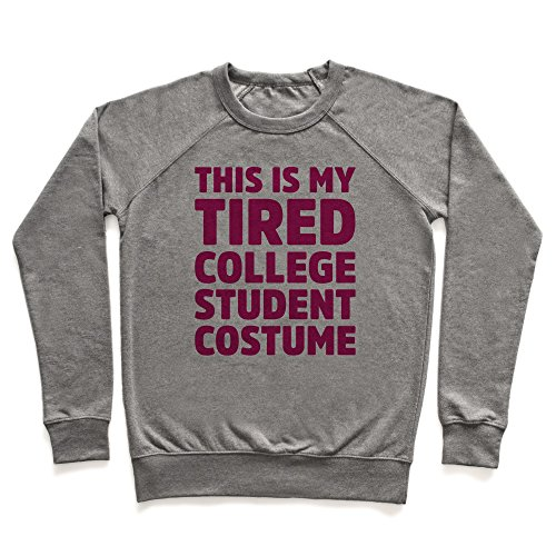 Tired Student Costume (This Is My Tired College Student Costume Heathered Gray Large Unisex Lightweight Pullover Sweatshirt by LookHUMAN)