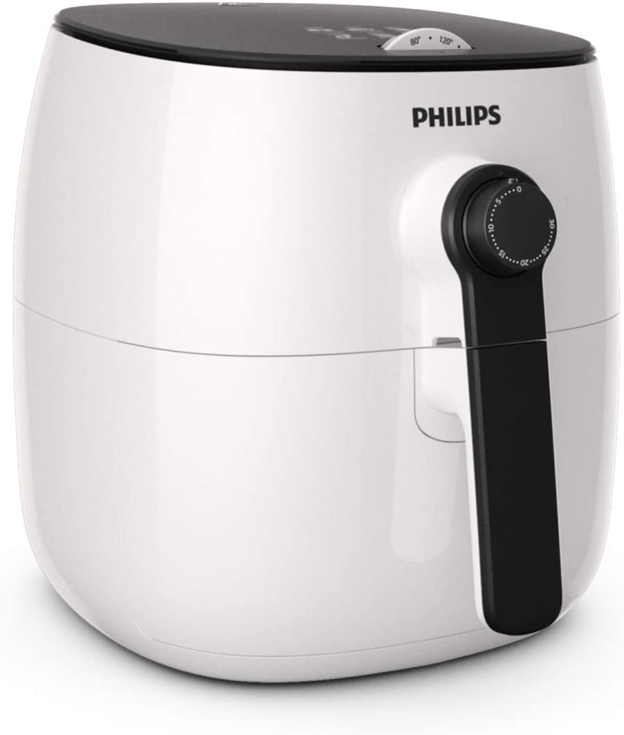 Philips TurboStar Technology Airfryer, Analog Interface, White with Black Handle - 1.8lb/2.75qt- HD9621/06