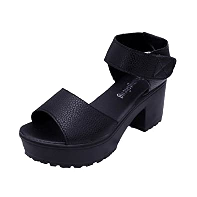 63210fbb Womens Summer Fasion Open Peep Toe Mid Low Heel Shoes Ladies Ankle Strap  Party Strappy Sandals