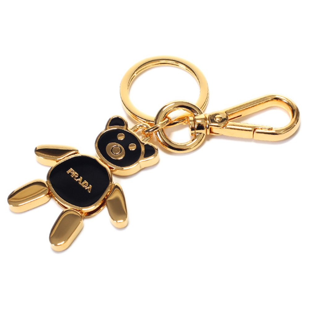 Prada Women's Black/Gold Teddy Bear Handbag Charm Key Fob 1PS399