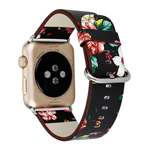 Hontao Floral Band for Apple Watch 38mm Soft PU Leather Flower Pattern Printed Replacement Smart iWatch Bands Bracelet with Stainless Metal Clasp for Apple Watch Series 3 2 1 Version (flower B 38mm)