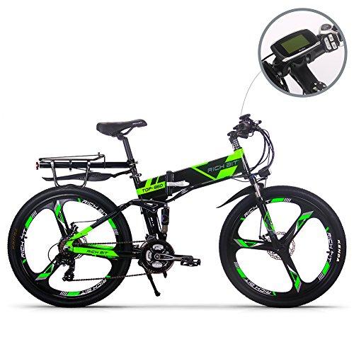 🥇 RICH BIT Eléctrico Bicicleta Actualizado RT860 36V 12.8Ah Batería de Litio plegable bicicleta MTB montaña bike 17 * 26 Shimano 21 velocidades inteligente e bike verde