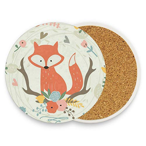 LoveBea Cute Fox and Flowers Coasters, Prevent Furniture from Dirty and Scratched, Round Cork Coasters Set Suitable for Kinds of Mugs and Cups, Living Room Decorations Gift Set of 2]()