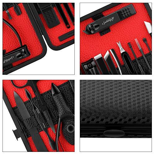 SPTHTHHPY Edelstahl Professional Nagelknipser Set für Männer Frauen Maniküre Pediküre Kits Clipper Scrubber Sicherheit Home Tools 18PCS