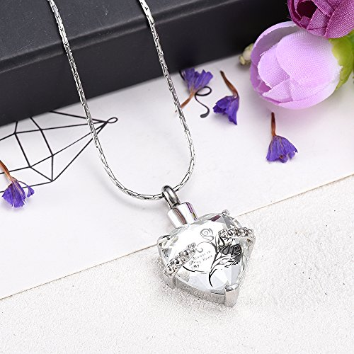 Always In My heart Crystal Necklace Stainless Steel Cremation Ashes Pendant Memorial Cremation Jewelry by constanlife (Image #1)