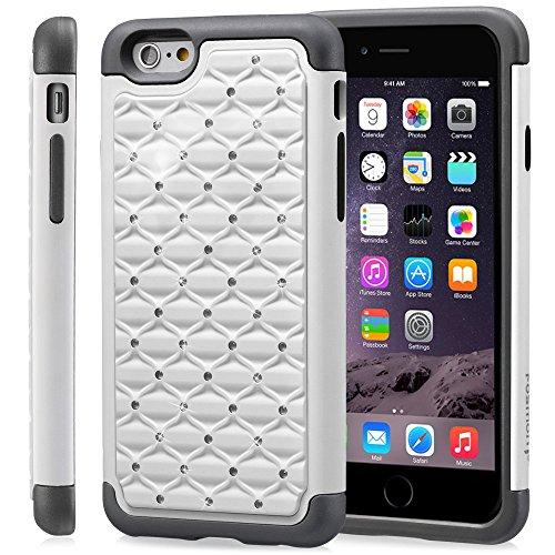 """Fosmon HYBO-SD Star Diamond PC + Silicone Case Cover hülle für Apple iPhone 6 Plus / 6s Plus (5.5"""") - Weiß / Schwarz"""