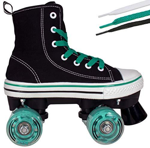 Lenexa Roller Skates for Girls and Boys MVP Kid's Unisex Quad Roller Skates with High Top Shoe Style for Indoor/Outdoor (Black & Teal, 5)
