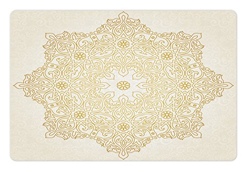 Lunarable Mandala Pet Mat for Food and Water, Antique Pattern Blooming Asian Garden Theme Filigree Style Traditional, Rectangle Non-Slip Rubber Mat for Dogs and Cats, Coconut Earth Yellow (Filigree Mat Rectangle)