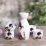 Panbado Ensemble Service à Saké Coupe à Saké Japonais Traditionnel - 4 Tasses 1 Carafe en Porcelaine Motif Geisha Kimono Orange