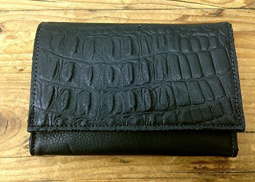Black Leather wallet Croco embossed Women crocodile Printed purse orgenaizer in Handmade
