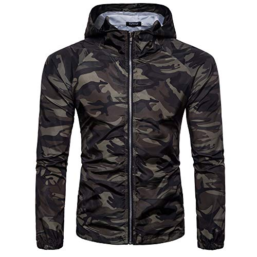 Men's Fashion Camouflage Autumn Sport Print Suntan-Proof Pullover Hooded T-Shirt Top