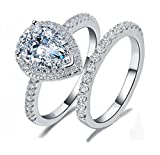 Venetia Top Grade 2 Carats Realistic Super Brilliant NSCD Simulated Diamond Tear Drop Pear Shape Ring Band Set Solid 925 Silver Platinm Halo Pave Gorgeous Fire