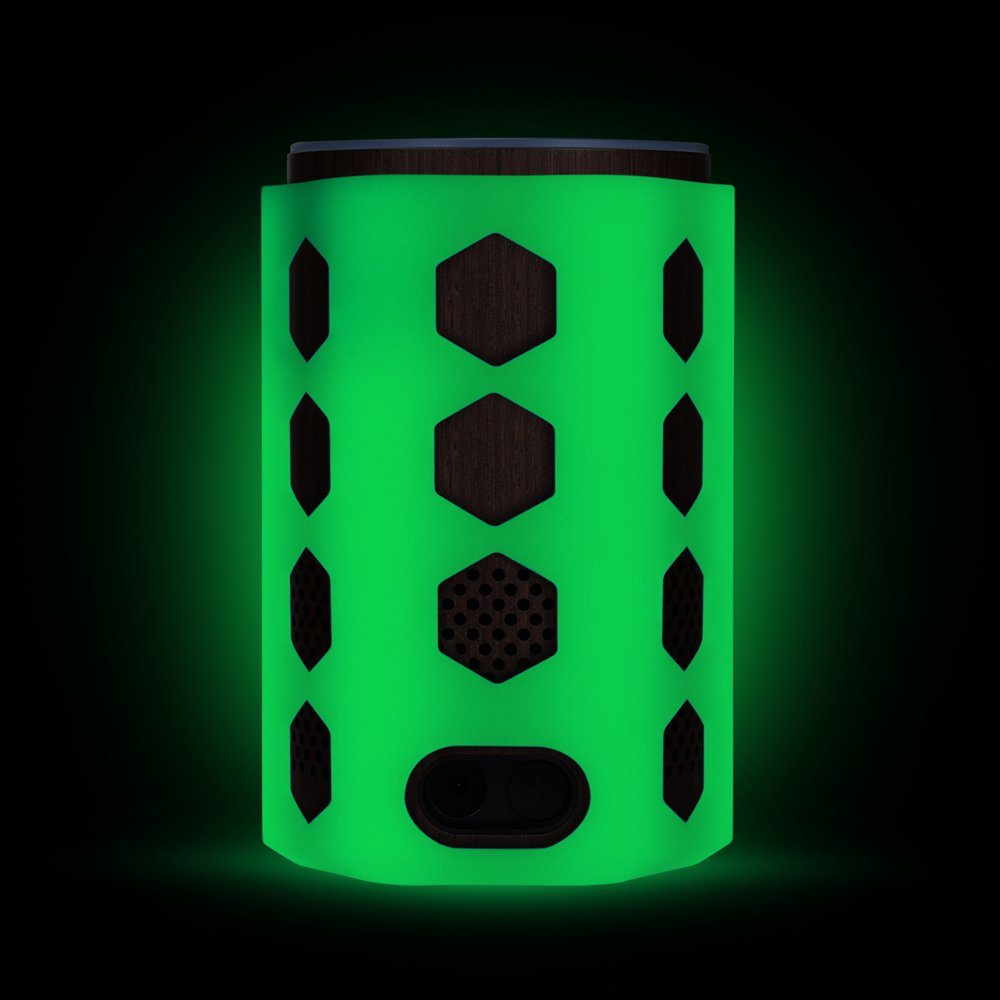 Silicone Case for Amazon Echo (2nd Generation), Protective Stand Cover Skin Sleeve, Anti-slip Hexagon Design, Impact & Drop Resistant, Precise Cutouts For Amazon Logo & Plug Hole (Glow Green)