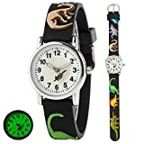 Wdnba Kids Outdoor Sports Children's Waterproof Wrist Watch Dinosaur 3D Watches for Boy Girl - Black