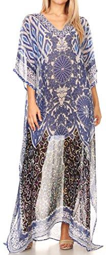 9b2cf9fc8af3d Sakkas Wilder Printed Design Long Sheer Rhinestone Caftan Dress/Cover Up