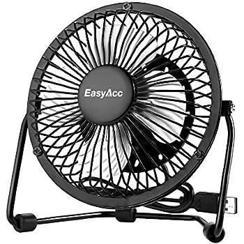 Amazon Com Easyacc 4 Inch Usb Fan Mini Desktop Fan Metal Blades