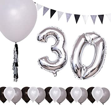 Fonder Mols Black And Silver 30th Birthday Party Decorations Balloons Vintage Triangle Flags Banner For