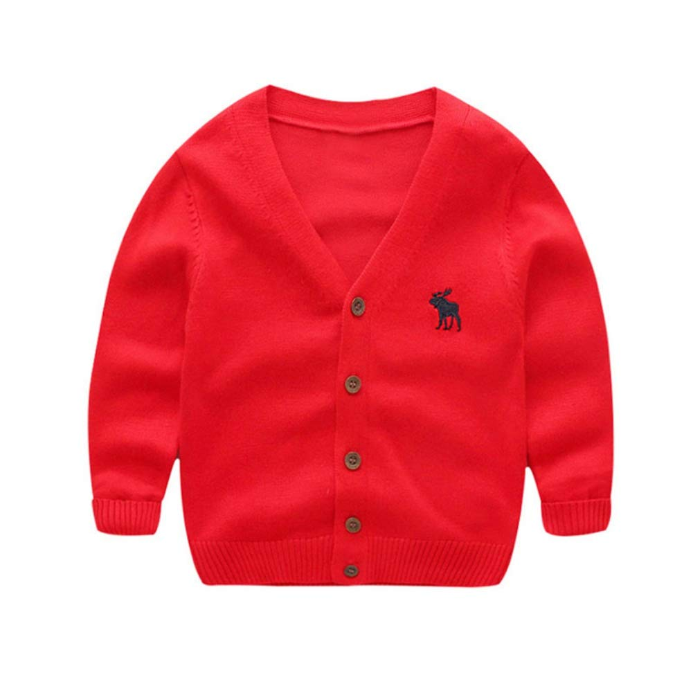 BOBORA Boy Kids Dinosaur Cardigan Children Autumn Winter Long Sleeved Jersey Shirt Knitted Outwears for 3-8Years BO-UK1062