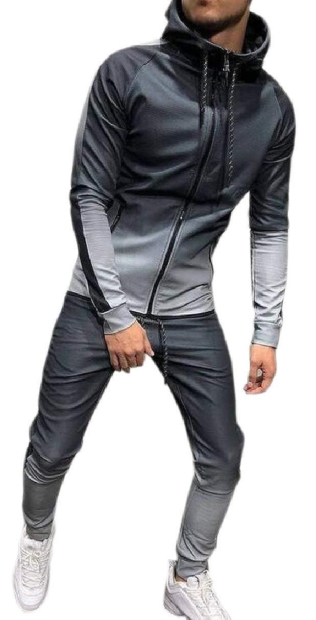 CBTLVSN Mens Zipper Up Fleece Casual Slim Hood Ombre Color Pocketed Sweatsuit
