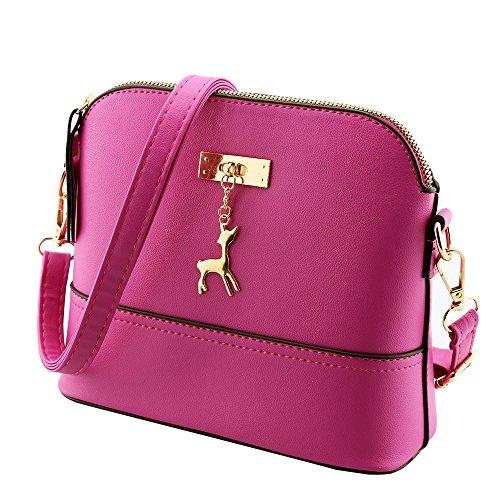 Women Canvas Handbags Shoulder Messenger Bags Hot Pink - 5
