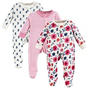 Touched by Nature Baby Organic Cotton Sleep and Play, 3 Pack, Garden Floral, 0-3 Months