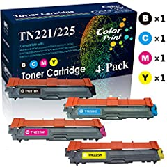 Product item:Compatible TN221 TN225 Toner Cartridege 4-Pack (Black+Cyan+Magenta+Yellow High Yield) for Brother HL-3140CN 3142CN 3151CDN 3150CDW 3152CDW 3170CDW 3172CDW 3180CDW Printer, Sold by EasyPrint 100% Compatible with following printer...
