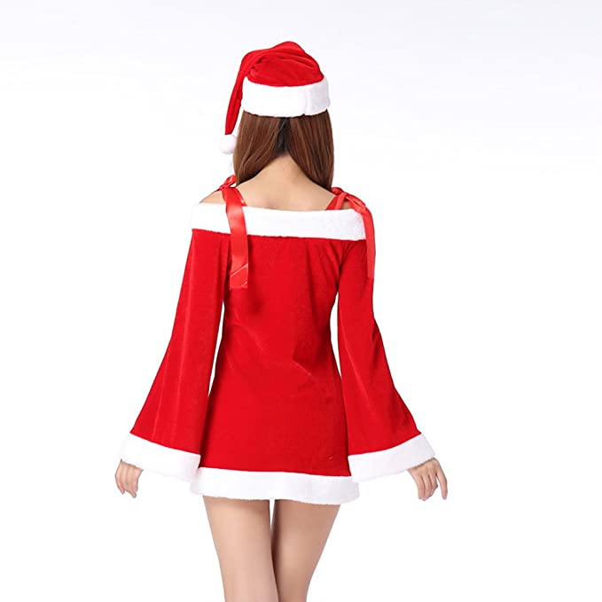 54a9c4670cd TEMPT Womens Sexy Christmas Costumes Off Shoulder Cosplay Lingerie Dress  Holiday Santa Claus Outfits