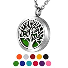 HOUSWEETY Aromatherapy Essential Oil Diffuser Necklace Hypo-Allergenic Stainless Steel Locket Round Pendant Necklace
