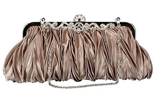Pale Women's Clutch Pleated Lock Party Bag Satin Crystals Handbag Evening OUKIN Taupe Kiss PdgRxSwwq