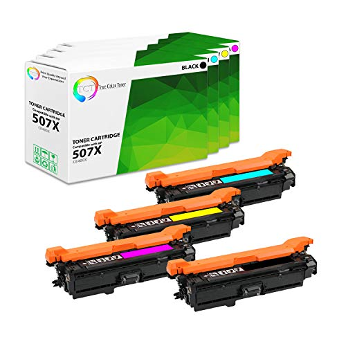 TCT Premium Compatible Toner Cartridge Replacement for HP 507X 507A CE400X CE401A CE402A CE403A Works with HP Laserjet Enterprise M551 M575 Printers (Black, Cyan, Magenta, Yellow) - 4 Pack ()