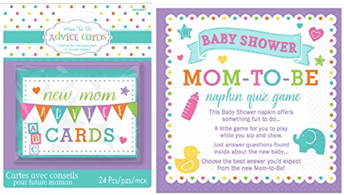 AMSCAN Mommy Advice Cards & Napkin Trivia Baby Shower Gam...