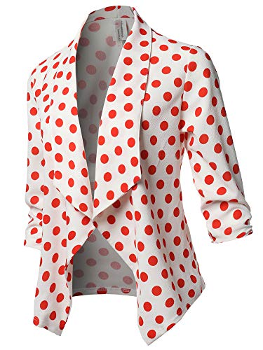 Stretch 3/4 Gathered Sleeve Open Blazer Jacket Red Polka Dot Size M ()