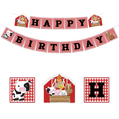 (KREATWOW Farm Animal Birthday Banner Barnyard Birthday Party Decorations Supplies for Kids )