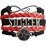 Soccer Charm Bracelet - Infinity Love Adjustable Charm Bracelet with Soccer Charm for Women and Girls