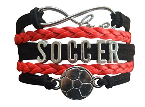 (Soccer Charm Bracelet - Infinity Love Adjustable Charm Bracelet with Soccer Charm for Soccer Players)