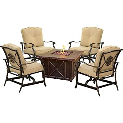 Hanover SUMMRNGHT5PCTAN Summer Night 5 Piece Fire Pit Conversation Set with Natural Oat Cushions Outdoor Furniture, Tan - Includes four spring-action rocking chairs and one 40 in. fire pit Each piece designed with premium all-weather materials for outdoor entertainment all year long Durastone LP gas fire pit (30,000 BTU) doubles as a coffee table - patio-furniture, patio, conversation-sets - 51EDyLHiQsL. SS400  -