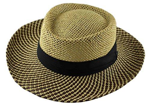(JKO Straw Gambler Hat with Black Band)