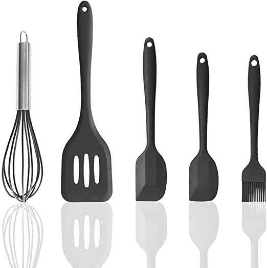 5pc Silicone Kitchen Utensils Set For Serving /& Cooking With Nonstick Cookware