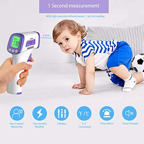 Infrared Forehead Thermometer, Non-Contact Thermometer for Adult and Kids, Baby, ˚C/˚F Adjustable- Fever Alert Digital Thermometer for Body, Surface