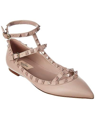73a2a4b3d Amazon.com | VALENTINO Rockstud Caged Leather Ballerina Flat, 38, Pink |  Flats