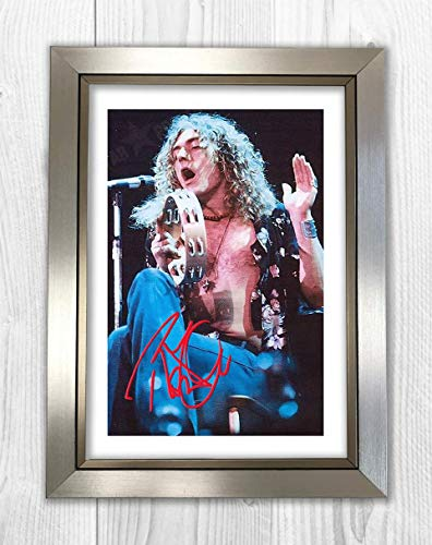 (Engravia Digital Robert Plant Earls Court 1975 (4) Led Zeppelin Reproduction Autograph Poster Photo A4 Print(Silver Frame))
