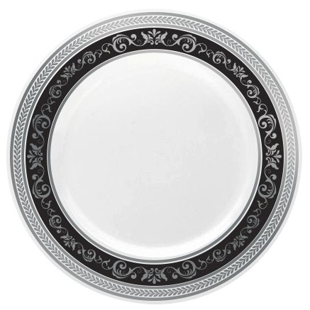 Posh Setting Royal Collection China Look White, Silver/Black Plastic Plates (Includes 1 Pack of 10.25'' Dinner Plates A total of 10 plates) Fancy Disposable Dinnerware (Dinner Plates 1)
