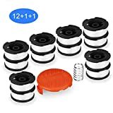 SUERW Line String Trimmer Replacement Spool, [14-Pack] 30ft 0.065' Replacement Autofeed Spool for Black+Decker String Trimmer [12 Replacement Line + 1 x Replacement Cap +1 x Replacement Spool Spring]