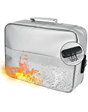 Fireproof Document Organizer with Lock, 3-Layer Document Bag with Waterproof Zipper, Home Office Travel Fire Proof Safe, Portable Filing Storage for Important File Passport Certificates Silver