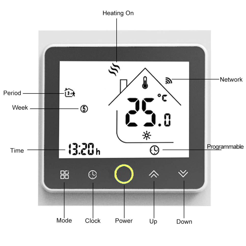 TTermostato programable Wifi para calefacción individual de calderas de gas/agua Funciona con Alexa/Google Home 5A Contacto seco: Amazon.es: Bricolaje y ...