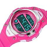 Kids Digital Sports Watch - Girls Waterproof Wrist Watch Outdoor Stopwatch with Alarm for Youth Children, Pink