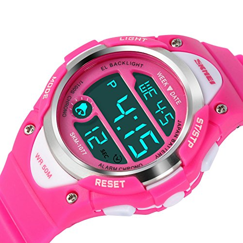 Price comparison product image Kids Digital Sports Watch - Girls Waterproof Wrist Watch Outdoor Stopwatch with Alarm for Youth Children, Pink