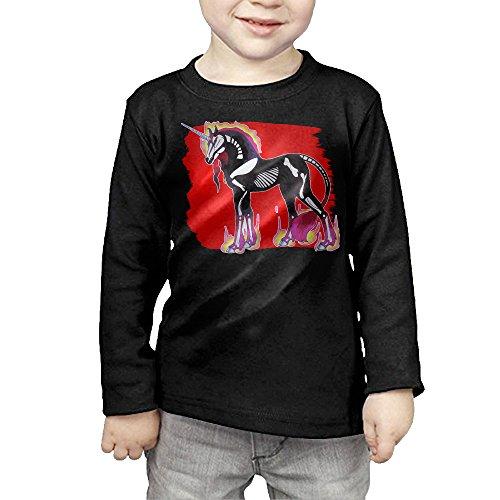 Halloween Fire Unicorn Kids Children Unisex Long Sleeve Cotton Crew Neck T-Shirt Tee